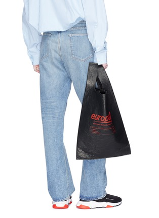 Figure View - Click To Enlarge - Balenciaga - 'Supermarket Shopper' slogan print medium leather tote bag