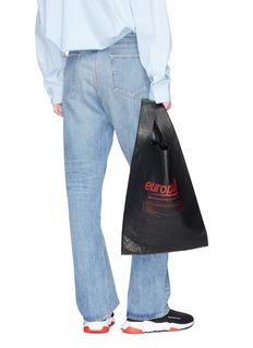 Balenciaga 'Supermarket Shopper' slogan print medium leather tote bag