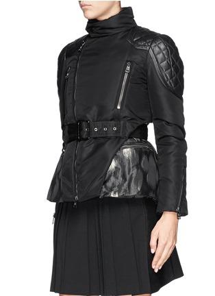 Front View - Click To Enlarge - Moncler - 'Ran' jacquard peplum layer down jacket