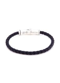 John Hardy Braided leather bamboo silver bracelet