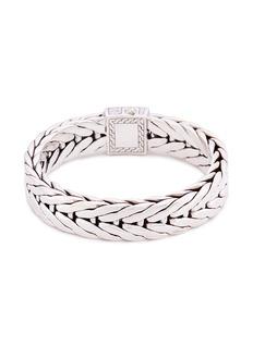 John Hardy Diamond silver medium weave effect link chain bracelet