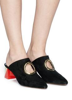 NEOUS 'Pleione' block heel cutout ring suede mules