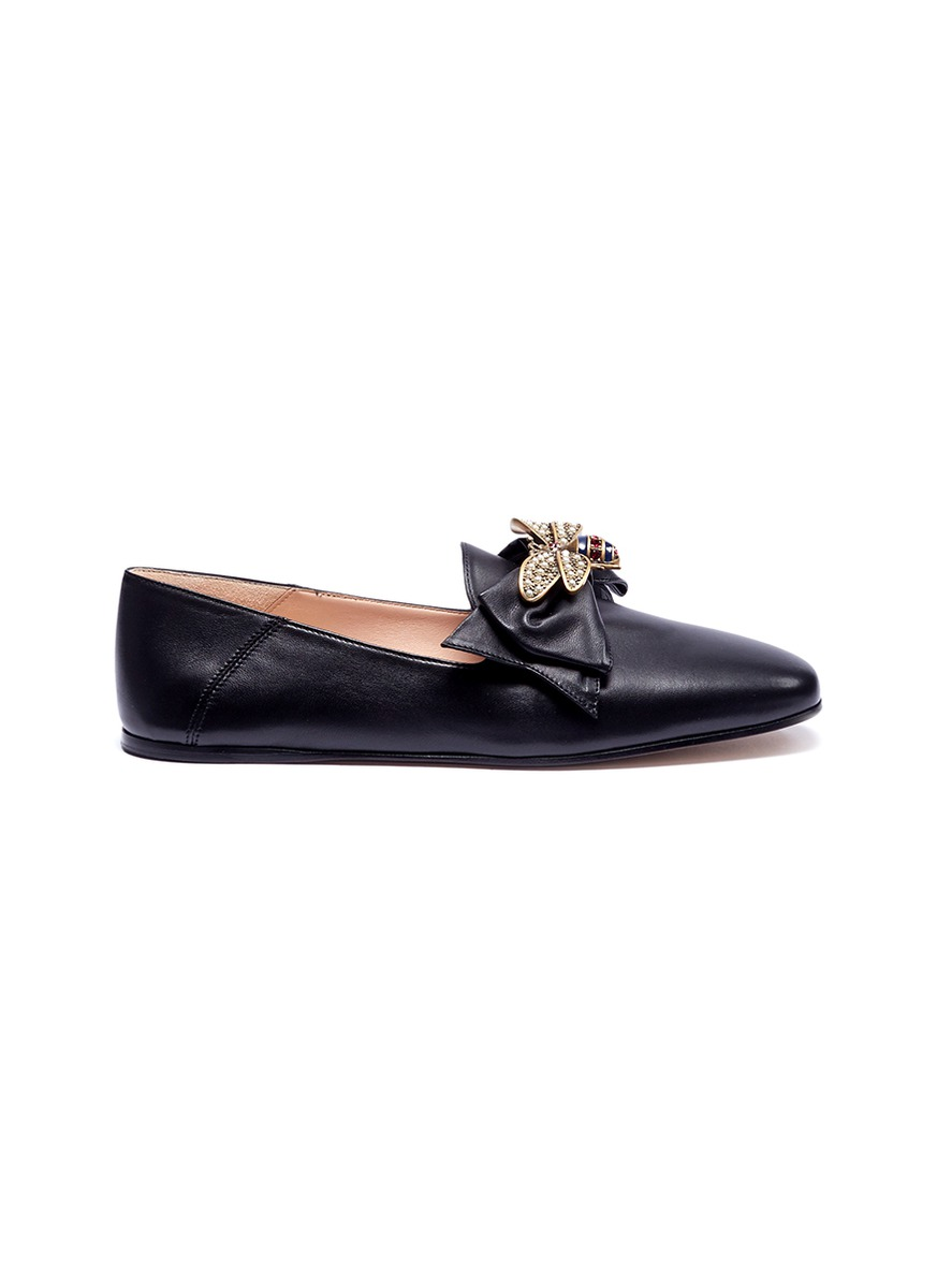 1b249bf17bf88 Gucci. Bee embellished leather step-in ballet flats