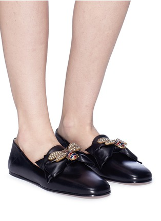 2fd4a004a382 Gucci. Bee embellished leather step-in ballet flats