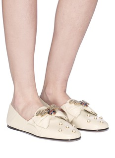 Gucci Bee pearl embellished leather step-in ballet flats