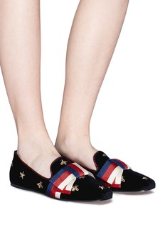 Gucci Sylvie bow embroidered velvet loafers