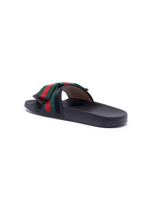 f05766c292a Detail View - Click To Enlarge - Gucci - Web stripe bow satin slide sandals
