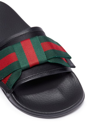 0b163debe16 Detail View - Click To Enlarge - Gucci - Web stripe bow satin slide sandals