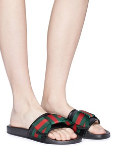 Gucci Web stripe bow satin slide sandals