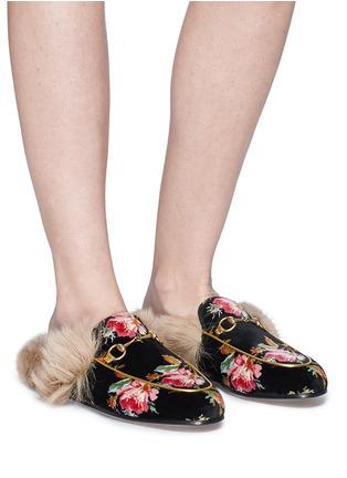 3ca8cd66606dc Figure View - Click To Enlarge - Gucci -  Princetown  floral print lamb fur