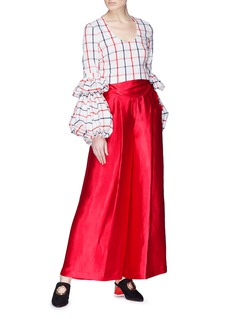 Rosie Assoulin 'The PFFF' puff sleeve windowpane check seersucker top