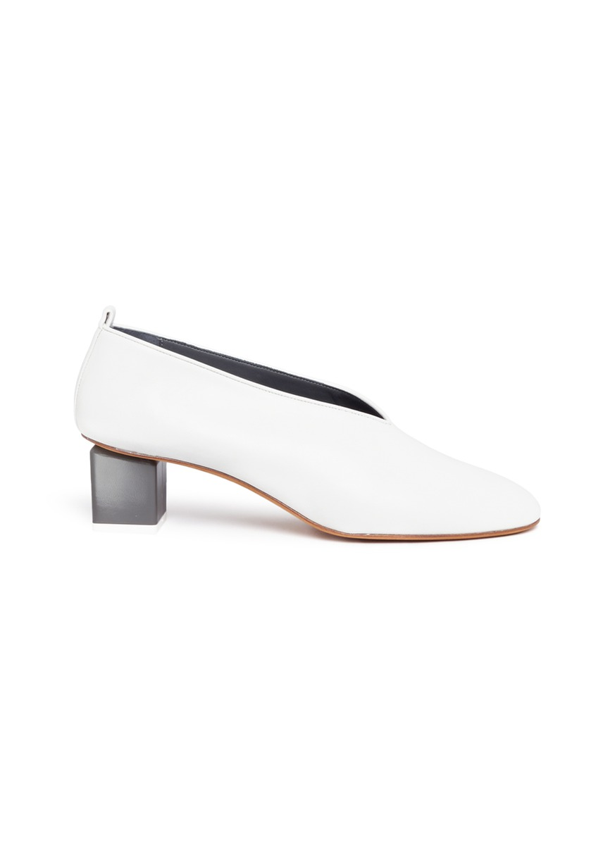 Mildred geometric heel choked-up leather pumps by Gray Matters