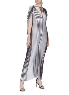 Tome Stripe pleated tie neck georgette jumpsuit
