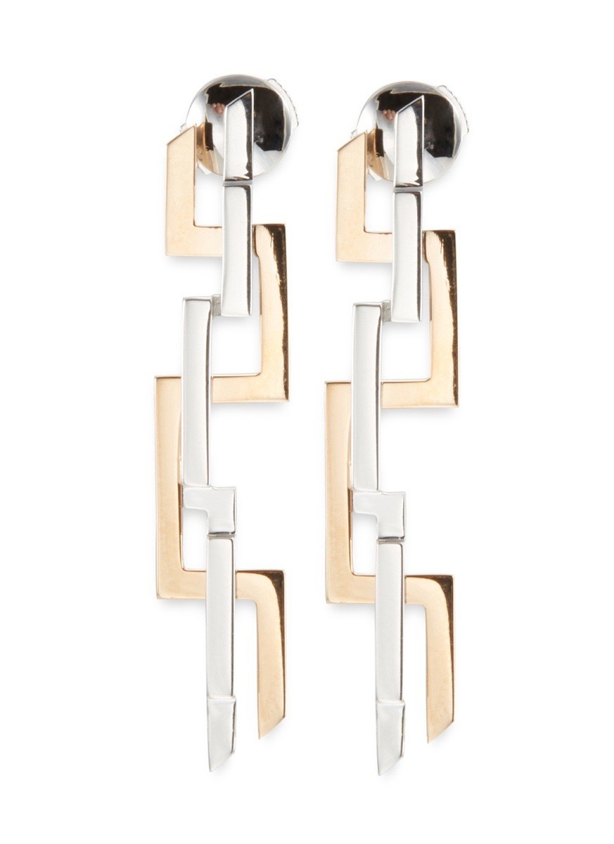 'Graphic' 18k white and rose gold interlocking drop earrings