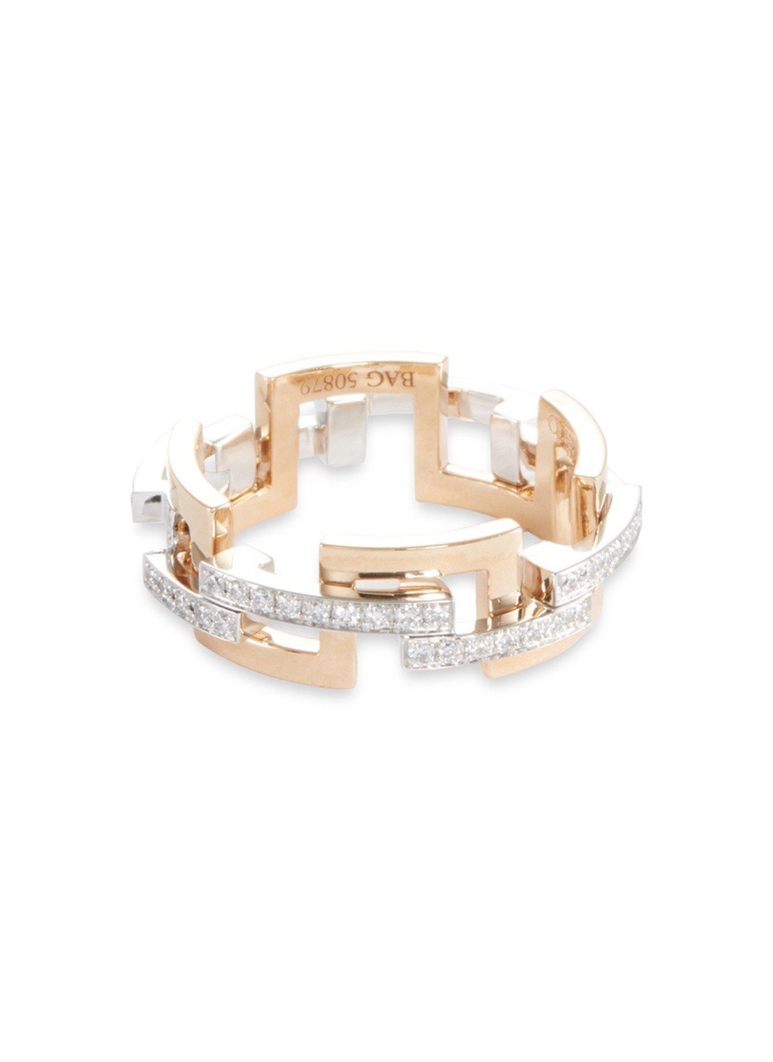 'Graphic' diamond gold interlocking ring