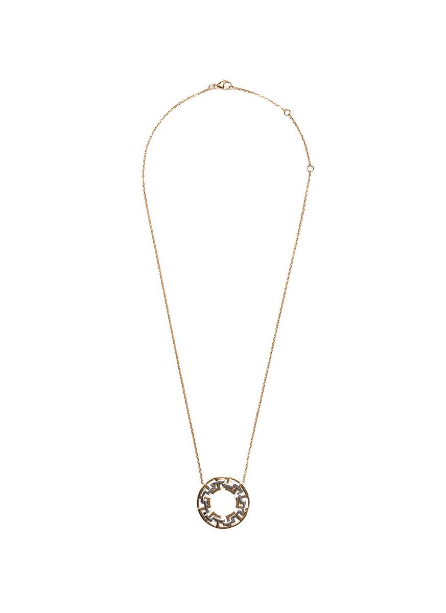 'Graphic' 18k gold interlocking hoop pendant necklace