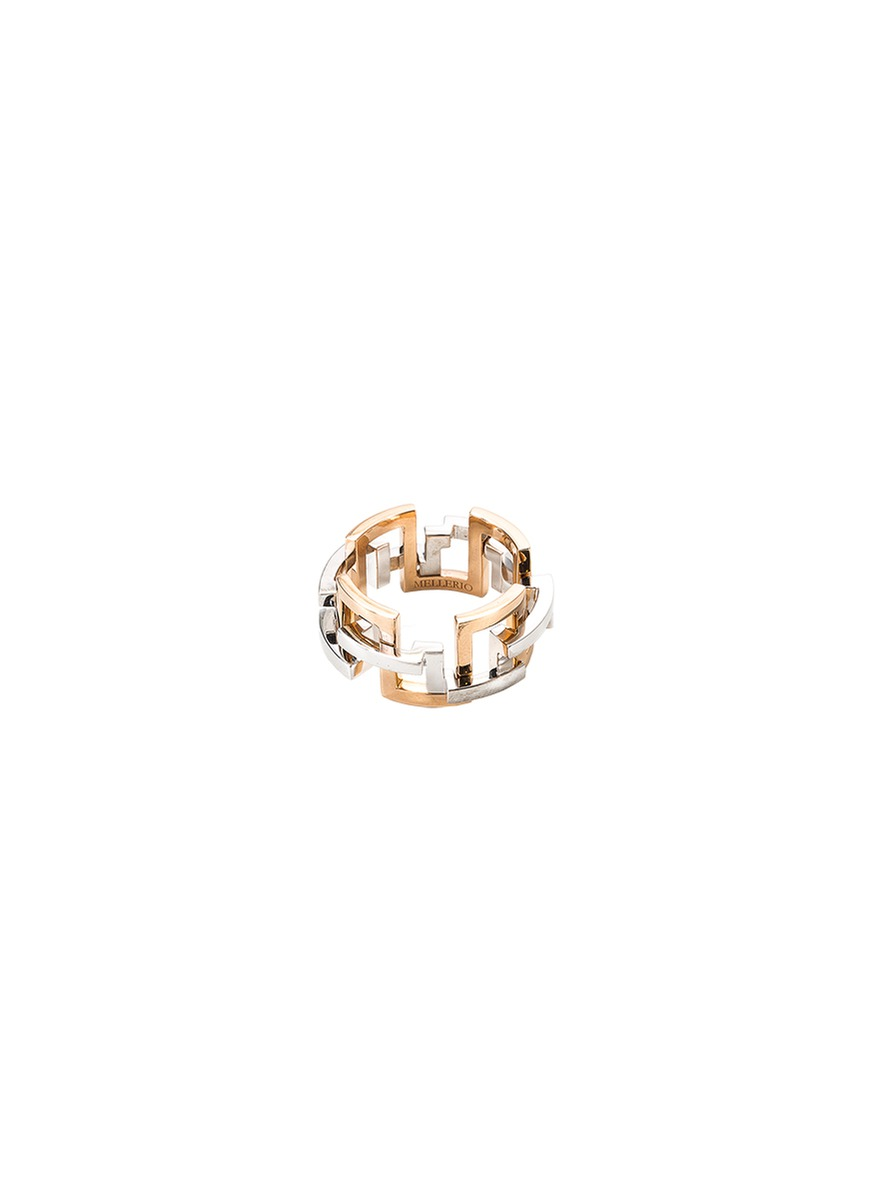 'Graphic' 18k gold interlocking ring
