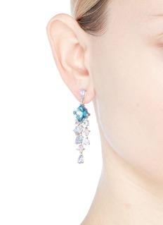 Anabela Chan 'Asscher' diamond gemstone geometric link fringe earrings