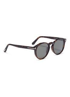 TOM FORD 'Lan' tortoiseshell acetate round sunglasses