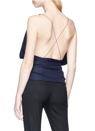 Back View - Click To Enlarge - JACQUEMUS - 'Sao' drape surplice front wool hopsack top