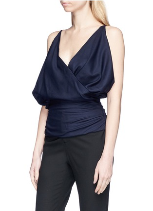 Front View - Click To Enlarge - JACQUEMUS - 'Sao' drape surplice front wool hopsack top
