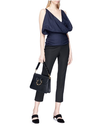Figure View - Click To Enlarge - JACQUEMUS - 'Sao' drape surplice front wool hopsack top