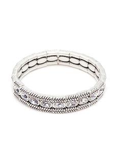 Philippe Audibert 'Claud' Swarovski crystal braid effect plate elastic bracelet