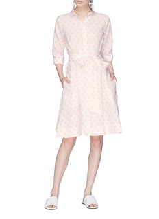 Lisa Marie Fernandez Polka dot print belted linen shirt dress