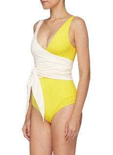 Lisa Marie Fernandez 'Dree-Louise' colourblock crepe wrap one-piece swimsuit