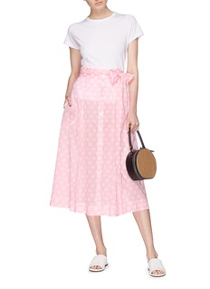 Lisa Marie Fernandez Sash tie polka dot cotton beach skirt