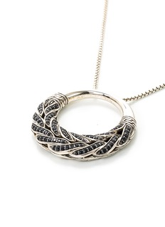 John Hardy Sapphire spinel silver weave effect hoop pendant necklace