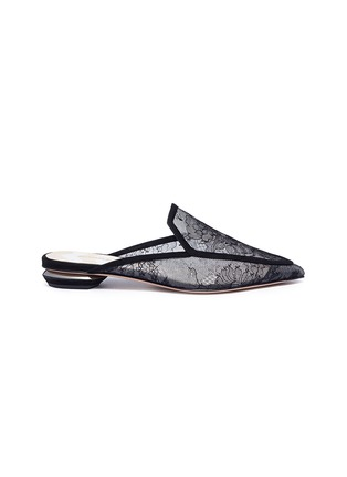 Main View - Click To Enlarge - Nicholas Kirkwood - 'Beya' metal heel floral lace loafer mules