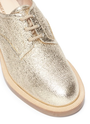 Detail View - Click To Enlarge - Nicholas Kirkwood - 'Casati' faux pearl heel crinkled leather Derbies