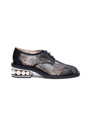 Main View - Click To Enlarge - Nicholas Kirkwood - 'Casati' faux pearl heel guipure lace Derbies