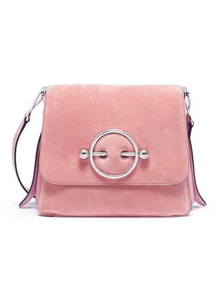 Main View - Click To Enlarge - JW Anderson - 'Disc' leather and suede shoulder bag