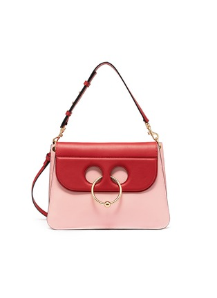 Main View - Click To Enlarge - JW Anderson - 'Pierce' colourblock barbell ring medium leather shoulder bag