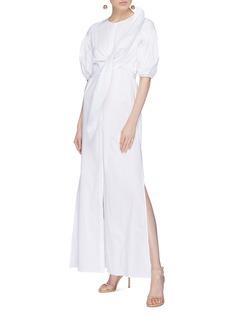 Leal Daccarett 'Hada' puff sleeve bow tie poplin dress