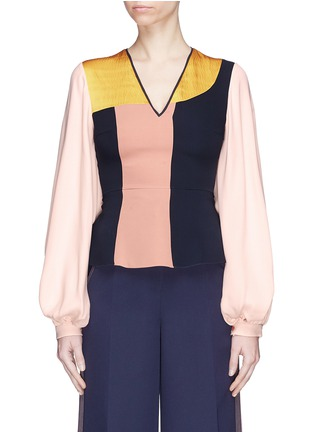 Main View - Click To Enlarge - Roksanda - Colourblock bell sleeve silk georgette V-neck top