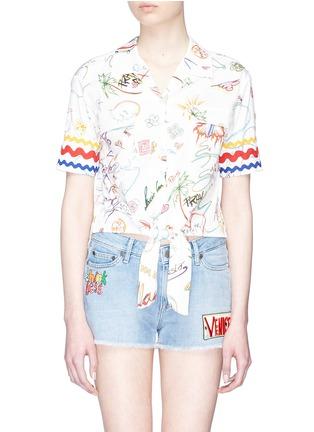 Main View - Click To Enlarge - Mira Mikati - Knot front graffiti print shirt