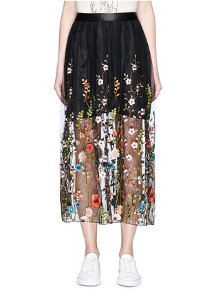 Main View - Click To Enlarge - Jonathan Liang - Floral embroidered mesh midi skirt