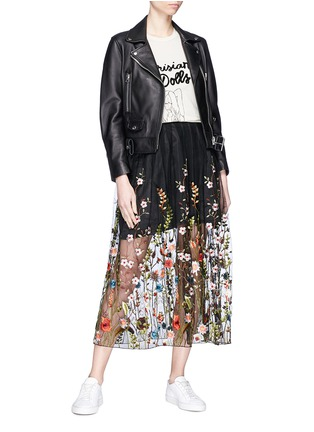 Figure View - Click To Enlarge - Jonathan Liang - Floral embroidered mesh midi skirt