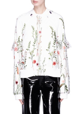 Main View - Click To Enlarge - Jonathan Liang - Ruffle sleeve floral embroidered mesh reversible bomber jacket
