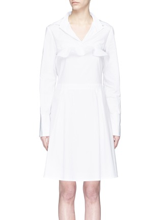 Main View - Click To Enlarge - Jonathan Liang - Two-in-one ruffle cape overlay poplin dress