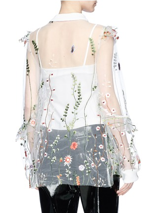 Back View - Click To Enlarge - Jonathan Liang - Floral embroidered mesh top