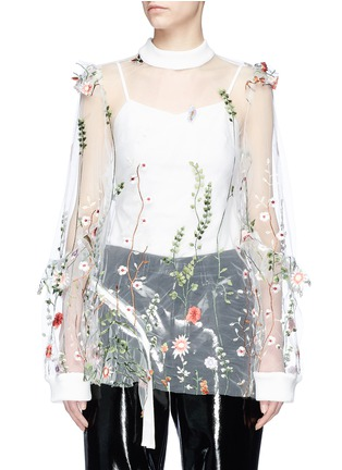 Main View - Click To Enlarge - Jonathan Liang - Floral embroidered mesh top