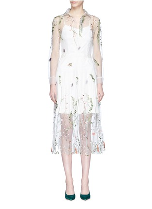Main View - Click To Enlarge - Jonathan Liang - Floral embroidered mesh dress