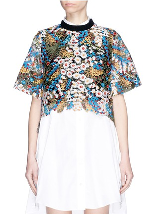 Main View - Click To Enlarge - Jonathan Liang - Floral embroidered high-low top