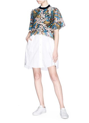 Figure View - Click To Enlarge - Jonathan Liang - Floral embroidered high-low top