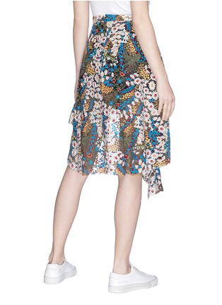 Back View - Click To Enlarge - Jonathan Liang - Floral embroidered asymmetric ruffle hem skirt