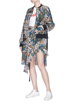 Figure View - Click To Enlarge - Jonathan Liang - Floral embroidered asymmetric ruffle hem skirt
